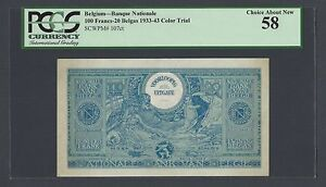 Belgium 100 Francs-20 Belgas 1933 (1943) P107ct Color Trial About Uncirculated