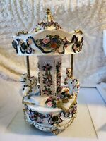 Vintage Musical Carousel exquisite detail 11 inch revolving musical carousel