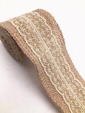 2m Jute Hessian Burlap Lace Ribbon Vintage Wedding Party Deco width 6cm Beige
