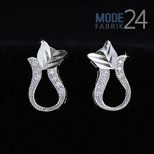 Damen Ohr Ring Ringe stecker echt 925 Sterling Silber Zirkonia Glitzer Katze