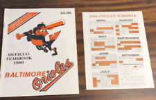 1980 BALTIMORE ORIOLES OFFICIAL TEAM BASEBALL YEARBOOK SCHEDULE JIM PALMER HOF