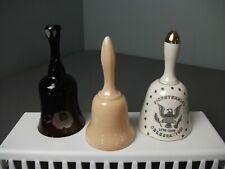 3 Vintage Bells w/ Clappers - Eapg Dark Red, Chocolate Milk Glass & Souvenir 206