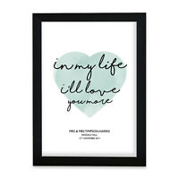 "The Beatles ""In My Life"" Heart Print Music Song Lyric Personalised First Dance"