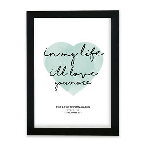 """The Beatles """"In My Life"""" Heart Print Music Song Lyric Personalised First Dance"""