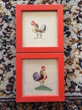 Rooster Pictures With Red Wood Frames