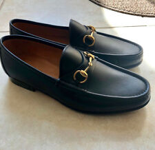 8ae8f7594 GUCCI Men's Size US 7.5, Black Leather Gold Horsebit Slip On Classic Loafer