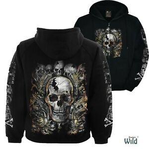 Skull Gothic Reaper Goth Glow in the Dark Print Wild Hoody Hoodie M L XL