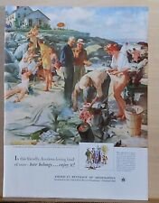 1952 magazine ad for Beer - Clambake on the Beach by John Gannam illustration