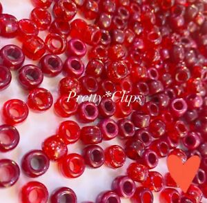 3 For 2 X100 RED RUBY MIX 9 X 6mm PONY BEADS FOR CRAFTS