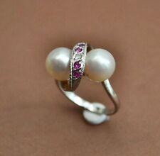 Antique Edwardian Pearl & Ruby Twist Ring, Estate, Stunning!