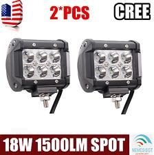 2pcs 18W  LED Work Light Bar Spot Beam Off road Driving Fog Lamp ATV SUV 4WD