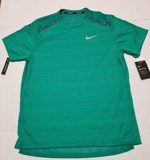Nike Breathe Short Sleeve Running Top Shirt Green Men's Sz L NEW AJ7565-319
