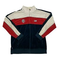 VTG Fila Men's White/Red/Navy Velour Full Zip Track Jacket Size 2XL XXL