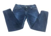 Silver Suki Women's Mid Skinny Super Stretch Dark Denim Jeans 34x29