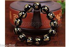 New 12mm Tibetan Black Agate Bead Carve Mantra Om Mani Padme Hum Amulet Bracelet