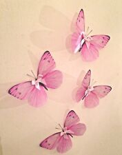Girls Sparkling 3D Butterfly Decals Pink Bows Bedroom Nursery Baby Shower 3D