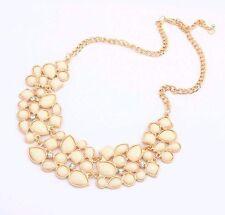 Vintage Gold Chain White Stone Crystal Bib Statement Collar Necklace Choker