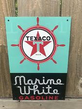 Texaco White marine  Gasoline metal sign baked Oil Gas Pump Plate