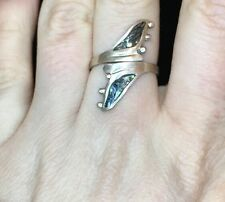 Inlaid Abalone Shell Size 6 + Fins Mexico Sterling Silver Wrap Style Ring With