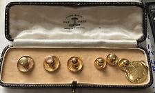 Antique Set of 6 18kt and 9kt  Gold Collar Studs Plus 18kt Medal - Original Case