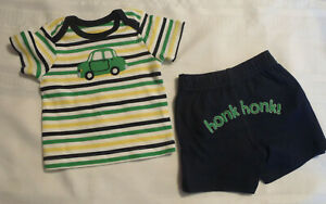 Gymboree Auto Baby 3-6 Month Navy Shorts Shirt Outfit NWT