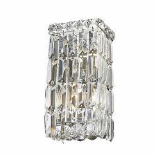 "2-Light Chrome Finish W 6"" H 12"" Apollo Crystal Wall Sconce Light Square Shape"