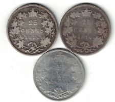 3 X CANADA 25 CENT QUARTERS QUEEN VICTORIA 925 SILVER COIN 1872H 1874H 1882H