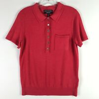 Banana Republic Filpucci Merino Wool Henley Polo SS Shirt Pink - Medium M