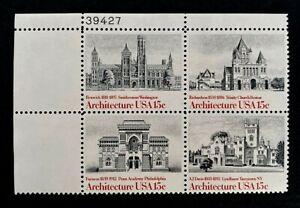 US Stamps, Scott #1838-41 15c 1980 American Architecture plate block XF M/NH