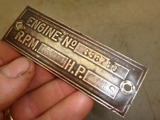 Orig Name Tag for 1-3/4hp S Hercules Economy No. 356750 Hit and Miss Gas Engine
