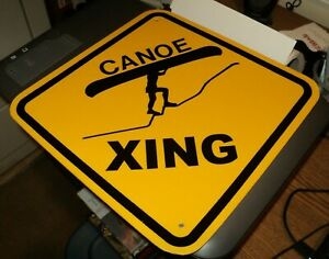 "CANOE CROSSING: 12"" Hard Plastic Sign: Yellow Wall Hanging: Xing Decor: ManCave"