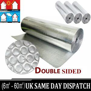 Double Insulation Foil Air Bubble Silver Aluminum Roll Loft Shed 1.2x 25/40/50m