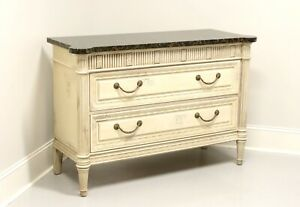 COUNCILL French Louis XVI Marble Top Painted Occasional Chest