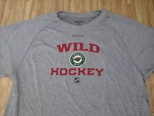 Minnesota Wild Hockey Reebok Speedwick Athletic Shirt ~ Large L ~ Silver Gray