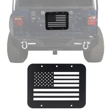 Black USA Flag Plate Mount Tailgate Vent Cover Fit For 97-06 Jeep Wrangler TJ