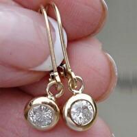 2Ct Round Cut Moissanite Leverback Drop & Dangle Earrings 14K White Gold Finish