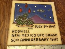 """Roswell NM 50th Anniversary 1947-1997 Alien  UFO Crash 6"""" Tile Italy 331 945"""