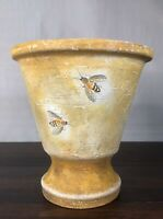 Hand Crafted Painted Yellow Honeybee Pottery Pedestal Planter by Dubois Designs