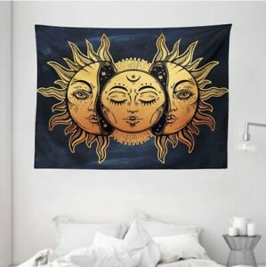 Psychedelic Tapestry Mystic Moon Sun Print Wall Hanging Decor 60Wx80L w hooks