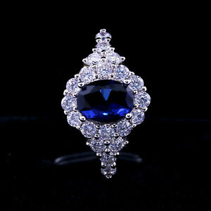 1.41 Ct Oval Cut Blue Sapphire Halo Engagement Ring In 14k White Gold Plated