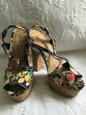 63a5b396cee CHINESE LAUNDRY sz 8 M Navy Floral Platform Cork Slingback PeepToe Sandal  Heels
