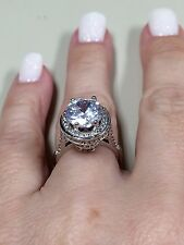 Victoria Wieck 5CT Crown Sterling silver Topaz simulated diamond ring size 6