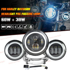 "7"" Round LED Projector Headlight Fog Lights For Harley Heritage Deluxe Softail"