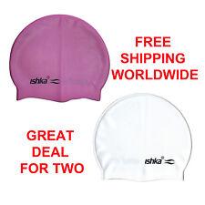 ISHKA ADULT CHILDREN SILICONE SWIM SWIMMING HATS CAPS NEW x 2 PURPLE & WHITE