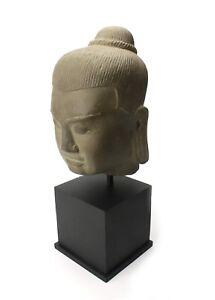 Khmer stone carving, King Jayavarman VII head 38cm. Original hand carved statue