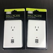 Wall Plate with 2 USB Ports Lot of 2, 2.1 amp Smartphone Charging.