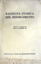 RASSEGNA STORICA DEL RISORGIMENTO ANNO LVI, FASCICOLO III, LUGLIO-SETTEMBRE 1969