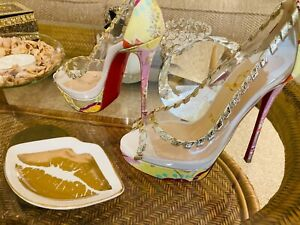 Christian Louboutin NEW platform brocade heels size 36