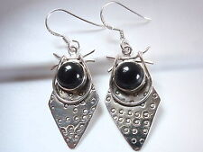 Black Onyx Hammered Tribal Style 925 Sterling Silver Dangle Earrings