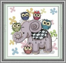 BNIP Elephant and Owl Cross Stitch Kit pre-printed 11 ct aida 39 x 39cm (1)